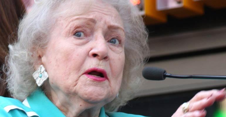 Photo of Betty White speaking at podium